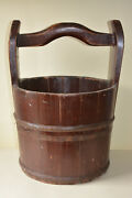 Charming Rustic Old Wooden Wood Coopered Bucket Water Planter Well Poss Antique