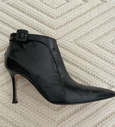 Euc Manolo Blahnik Black Leather Ankle Buckle Boot Bootie 38.5 Size 8 Great Cond