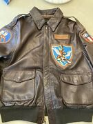 Avirex Pilot Jacket A2 44 Blood Chit Flying Tigers Bomber Squadron Patch 23 Fg