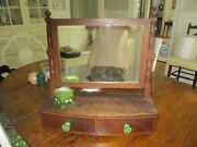 Antique Dresser Shaving Mirror With Two Drawers. Green Glass Knobs.