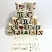 Wolf Creek Set 16 All Seasons Wood Wooden Blocks Vtg 1987 Made In Usa 2¾ Square