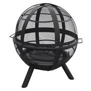 35 Matte Black Steel Sphere Round Large Bowl Fire Pit Outdoor Wood Burning