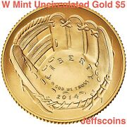 2014 W National Baseball Hall Of Fame Gold Uncirculated 5 Dollar Coin Boxcoa B32