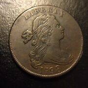 1798 Draped Bust Large Cent Au About Uncirculated Second Hair Style 1c Flowing
