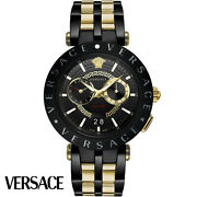 Versace Vebv00619 V-race Gold Black Stainless Steel Menand039s Watch New