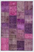 Fuchsia Color Handmade Patchwork Rug Made From Over-dyed Vintage Carpets