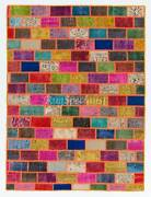 Cheerful Handmade Patchwork Rug Made From Over-dyed Vintage Carpets