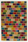 Cheerful Handmade Modern Patchwork Rug Made From Over-dyed Vintage Carpets