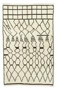 Contemporary Moroccan Beni Ourain Wool Rug In Ivory And Dark Brown