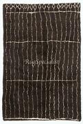 Contemporary Moroccan Rug Made Of Natural Black Wool