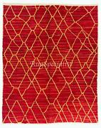 Contemporary Wool Rug In Red And Yellow. Custom Options Available