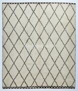 Contemporary Moroccan Berber Rug Made Of Natural Ivory And Brown Wool