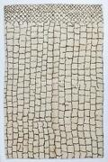 Moroccan Beni Ourain Rug Made Of Natural Cream And Brown Wool.