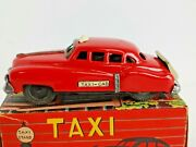 Vtg Sss Toys Tin Litho Friction Taxi Cab In Original Box Red 14424
