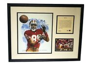 1993 Jerry Rice San Francisco 49ers Framed Kelly Russell Lithograph Print 6914