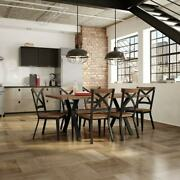 Kitchen Dining Room Set 7 Piece Brown Rectangle Metal And Birch Wood Table Chair