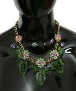 Dolce And Gabbana Necklace Green Leaves Gold Brass Crystal Flower Pendant