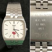 Vintage Royal Crown Rc Cola 1977 Seiko Menand039s Watch 7810-5019 17 Yrs Of Service