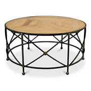 French Parquet And Iron Coffee Table