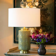 Adele Pierced Metal Lamp Brass Finish Green Verde Accents White Linen Shade