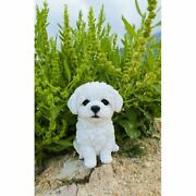 Maltese Dog Garden Satue Puppy Sculpture Figurine Outdoor Lawn Yard Decor 6.75and039and039