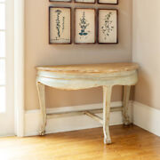 Demi-lune Half Moon Table Distressed Pale Green Painted Base Light Wood Top
