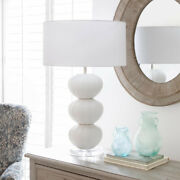 Muriel Urchin Table Lamp White Ceramic Base With White Linen Shade