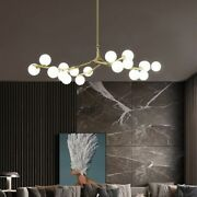 Magic Bean Iron Long Chandelier Glass Ball Lampshade Bedroom Living Dining
