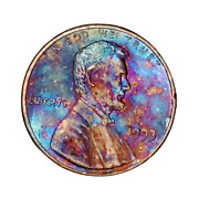 1993-d Lincoln Memorial Penny, Naturally Rainbow Toned, Gift For Him