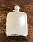 Heavy 203g Large Antique Hallmarked 1918 Solid Sterling Silver Hip Flask Wwi Wwi