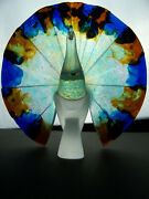 Guy Petitfils For Daum - Crystal And Pate De Verre Glass Peacock - Perfect - 11 In