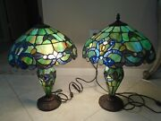 Style Table / Accent Lamps Blue-green Simulated Stained Slag Glass