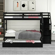 Twin Over Twin Bunk Bed W/twin Size Trundleand3 Storage Stairs Kids Teens Bedroom