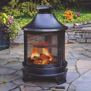Outdoor Heater Cooking Fire Pit W Cast Iron Bbq Grill Steel Fire Poker And Ash Pan