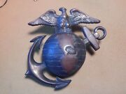 Vintage Wwii Large Usmc Eagle Globe And Anchor - Heavy Cast Metal