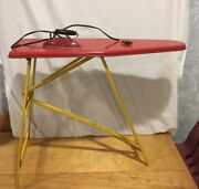 Ironing Board And Iron 1950s Retro Red Yellow Metal Children Play Toy Folds Vtg