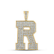 10kt Yellow Gold Mens Round Diamond R Initial Letter Charm Pendant 2-1/4 Cttw