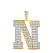 10kt Yellow Gold Mens Round Diamond N Initial Letter Charm Pendant 2-7/8 Cttw