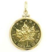 Maple Leaf 1/2oz Coin 24k Yellow Gold 18k Pendant Top Free Shipping Used