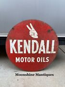 """Original 1950's Kendall Motor Oil Sign 24"""" - Gas And Oil"""