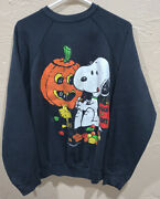 Vintage 1965 Peanuts Characters Snoopy Halloween Crewneck Trick Or Treat Sweater