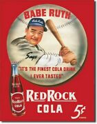 Babe Ruth Red Rock Cola Metal Sign Tin New Vintage Style Usa 149