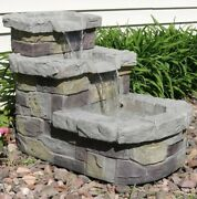 Outdoor Tiered Water Fountain Patio Garden 3 Tier Faux Stone Waterfall With Pump