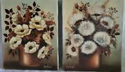 Pair Vintage Oil Paintings On Canvas Board Unframed Flowers Signed 8x10