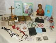 Religious Box Lot Of Vintage Christian Catholic Junk Drawer Collection 36 Pieces