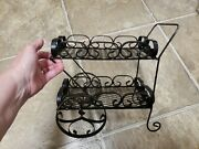 Vintage Wrought Iron Small Mini Deco Serving Cart W/rolling Wheels Mexico