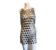 Vintage Small 1960s Silver Bottle Cap Dress Rare Made From Bottlecaps See Thru