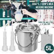 5l Electric Goat Cattle Cow Milking Machine Suction Pump Milker Stainless Stee