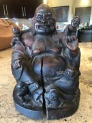 """10"""" Estate Find Antique Rosewood Buddha Chinese Figurine With Glass Eyes"""