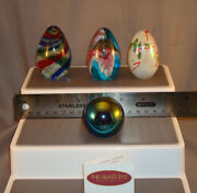 Quartet Of Small Glass Eye Studios And Msh Glass Paperweights - Signed